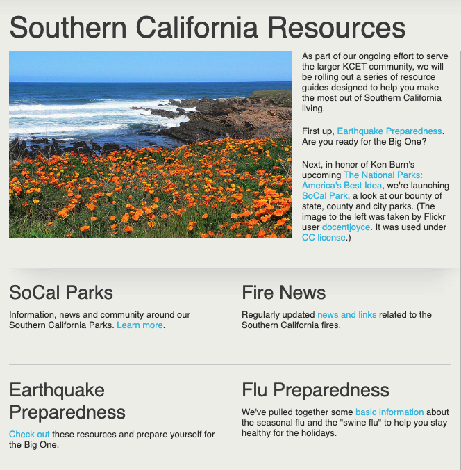 Screenshot, KCET Resource Guide