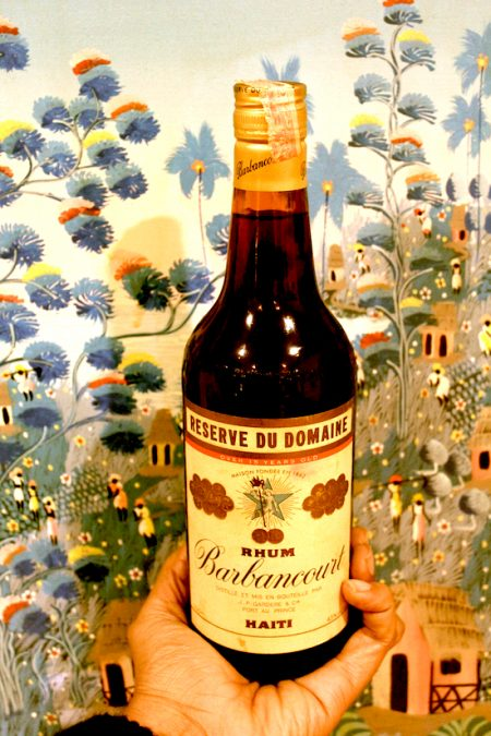 A bottle of Barbancourt rum